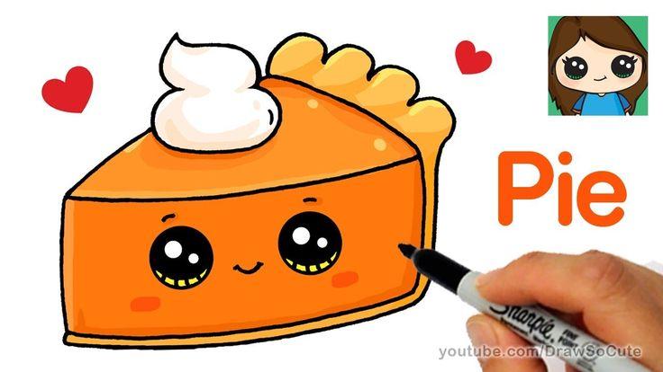 draw pie slice easy drawings cartoon unicorn cake drawing kawaii thanksgiving cartoons candy characters animals sweet