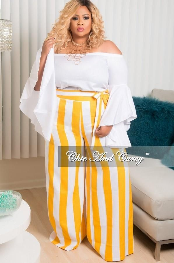 Plus Size Wide Leg Stripe Pant with Attached Tie in Mustard and White – Chic And Curvy
