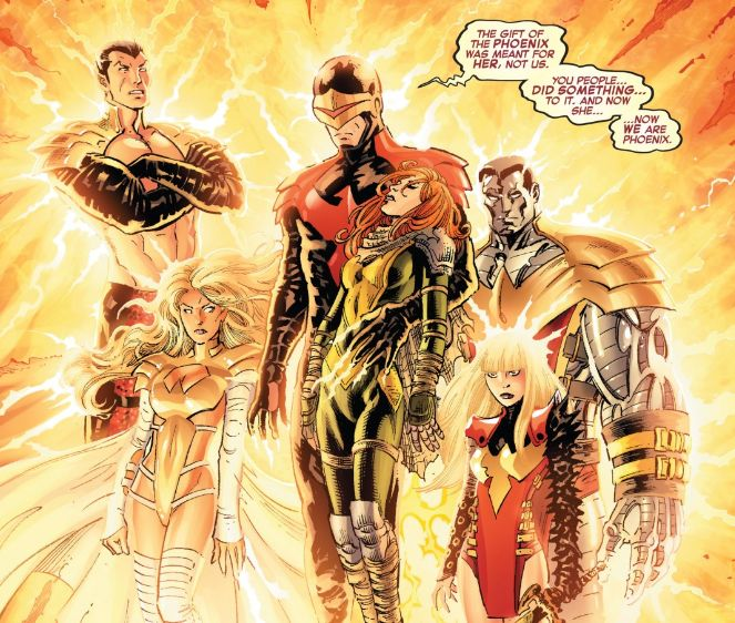 After the Phoenix Force was split by Iron Man, it possessed Cyclops, Emma Frost, Namor, Colossus, and Magik. These X-Men, now known as the Phoenix Five, returned to Earth to bring forth tomorrow.