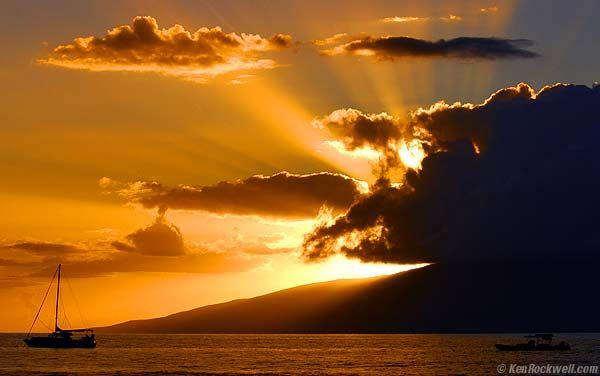 Sunset over Lanai as seen from Lahaina Harbor, Maui, Hawaii.