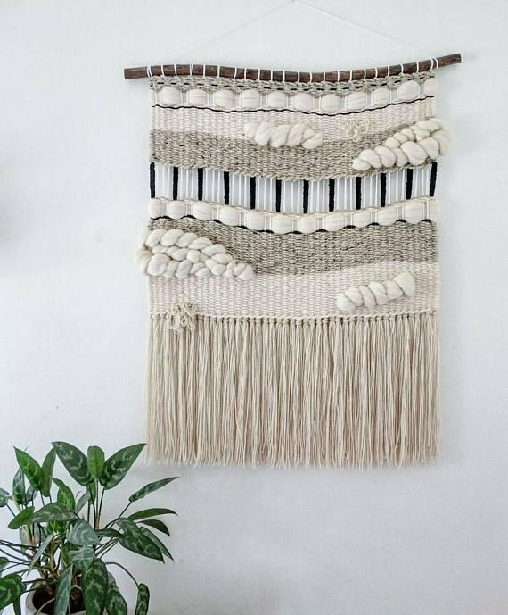 Neutral Modern Tapestry Beige Green Woven Wall Hanging Woven Tapestry Wall Hanging Weaving Wal Tapestry Weaving Woven Wall Hanging Weaving Wall Hanging