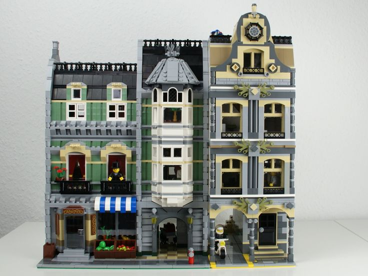 The slightly modified LEGO Green Grocer (#10185) and the reworked modular police station.