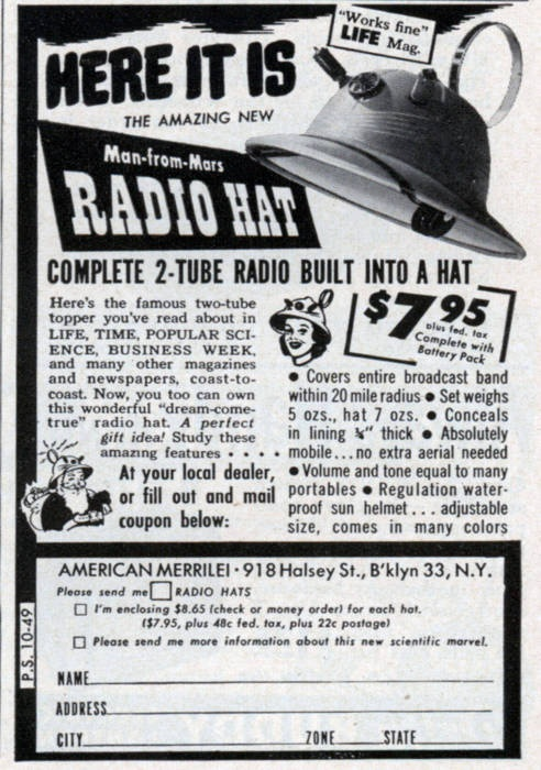 Before there were iPodsManfrommar Radios, Retro Products, Vintage Advertis, Life Magazines, Radios Hats, Man From Mars Radios, Vintage Ads, Unusual Art, Amazing Radios