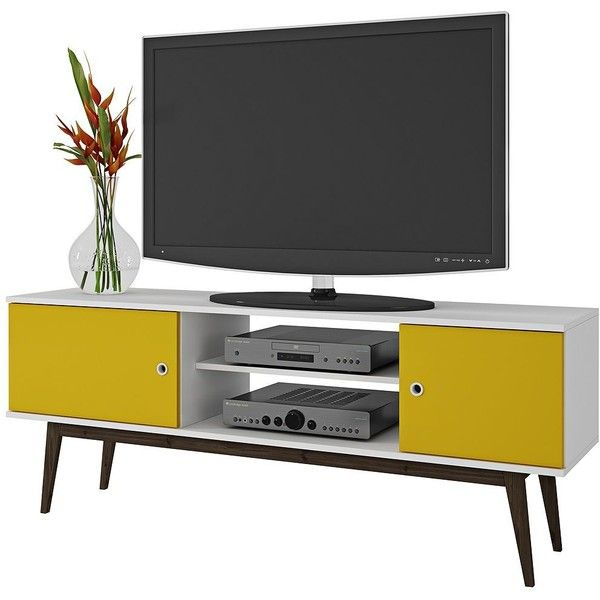 Tv Table With Storage Part - 44: ... Liked On Polyvore Featuring Home, Furniture, Storage U0026 Shelves,  Entertainment Units, Yellow Furniture, White Tv Stand, Wood Media Stand,  White Tv Table ...