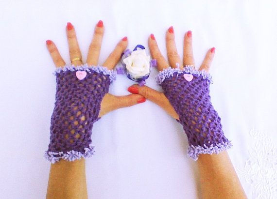 Purple lilac Crochet gloves Fingerless Gloves by HandmadeTrend, $22.00