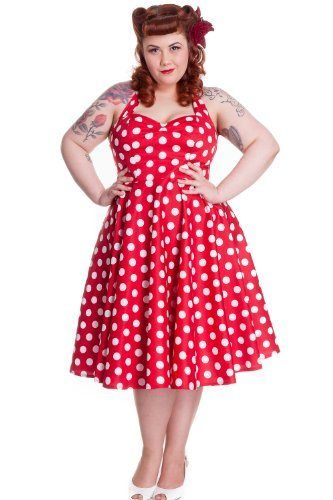 Hell Bunny Plus Size Rockabilly Red and White Polka Dot Minnie Halter Dress -  Amazing and gorgeous 60's style Polka Dot swing dress from Hell Bunny. It is superb quality vintage style dress and perfect for parties, weddings and proms. $79.95