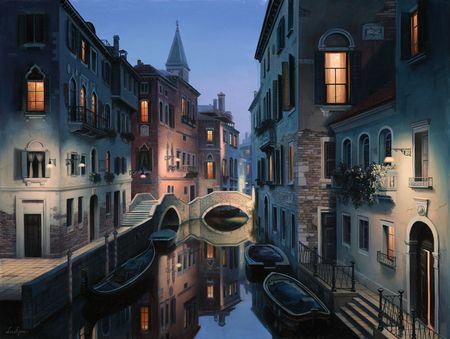 Eugeny Lushpin - Night Dreams - architecture, art, boats, channel, city, Eugene Lushpin, Eugeny Lushpin, evening, houses, Italy, Lushpin, painting: Night Dreams, Lushpin Art, Wallpaper, Venice, Breathtaking Cityscape, Paintings