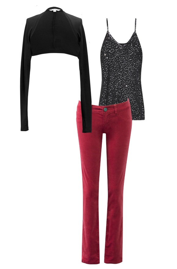 Looking for a little casual-chic holiday dressing? Look no further than the Crimson Cords, Ballet Arm Warmers and a Donna Karan Sequin Tank.