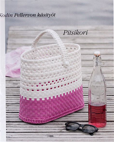 Kodin Pellervo 6-7/2017. Basket: Pia Heilä for LANKAVA. Photo: Beada Kinnarinen. Esteri Polyester Cord and Plastic Net, LANKAVA.