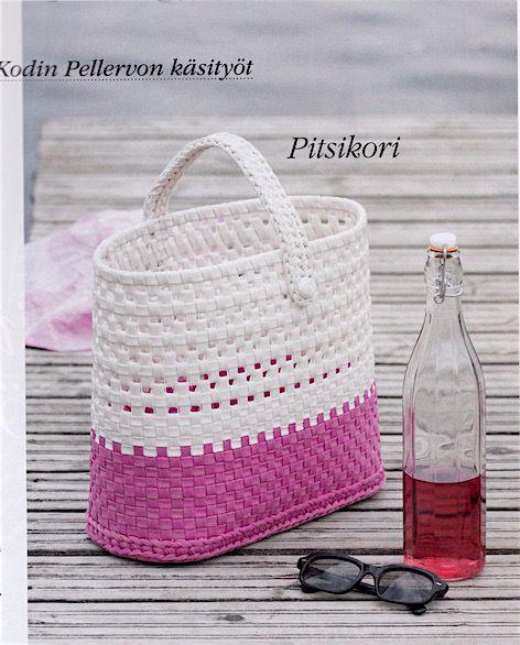 Kodin Pellervo 6-7/2017. Basket: Pia Heilä for LANKAVA. Photo: Beada Kinnarinen. Esteri Polyester Cord and Plastic Net, LANKAVA.