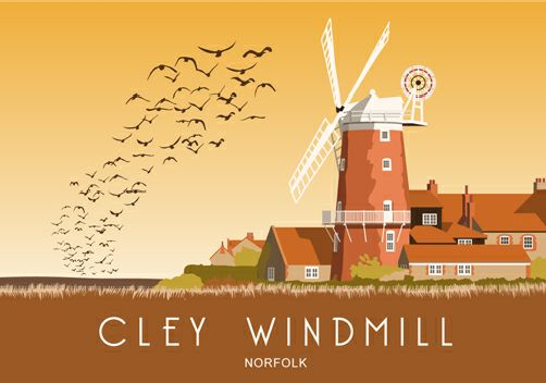 Cley Windmill, Norfolk coast. Can be purchased from www.whiteonesugar.co.uk starting at £12