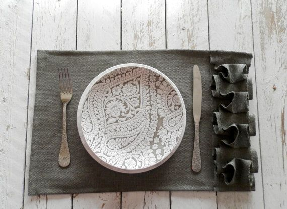 Set of 6 Gray Washed  Burlap Placemats with by MadeInBurlap