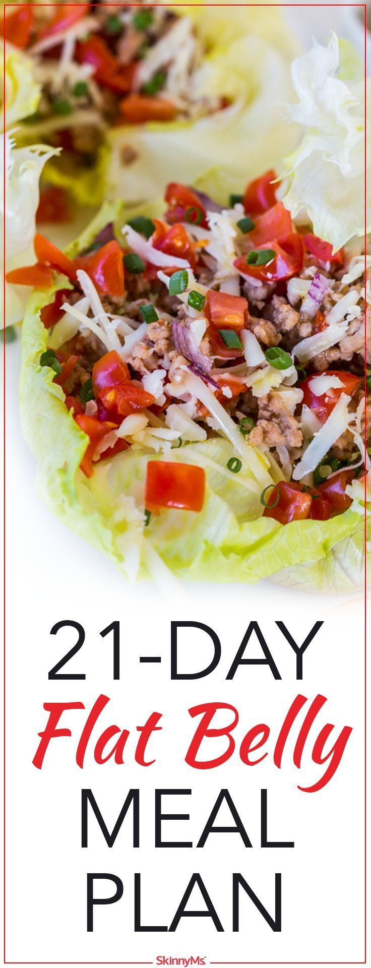 This flat belly meal plan incorporates foods that will help trim the waistline. #weightloss #flatbelly #skinnyms