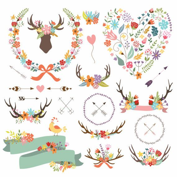 Antler Clipart Arrow Clipart. Shabby Chic by CutePaperStudio