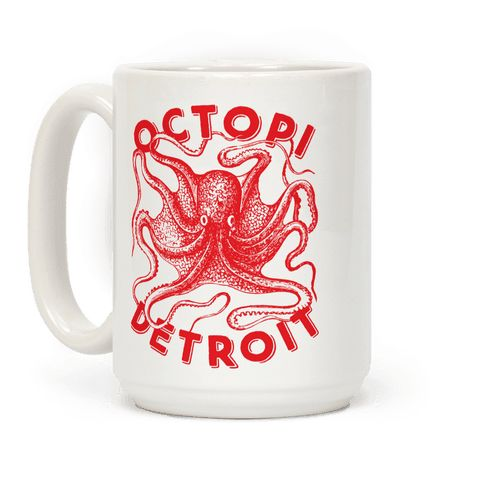 "Octopi Detroit - This cool Detroit mug features an octopus and the words ""octopi Detroit"" and is perfect for people who love Detroit, hockey, Detroit hockey, octopi, throwing octopi on the ice, watching hockey on TV, cheering for Detroit, Detroit fans, and is perfect for drinking coffee at work, the gym, going to a hockey game, throwing an octopus, or watching hockey on TV!"