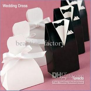 Wholesale 200 pcs bride groom wedding bridal favor candy box gift boxes gown tuxedo New, Free shipping, $0.2-0.23/Piece | DHgate