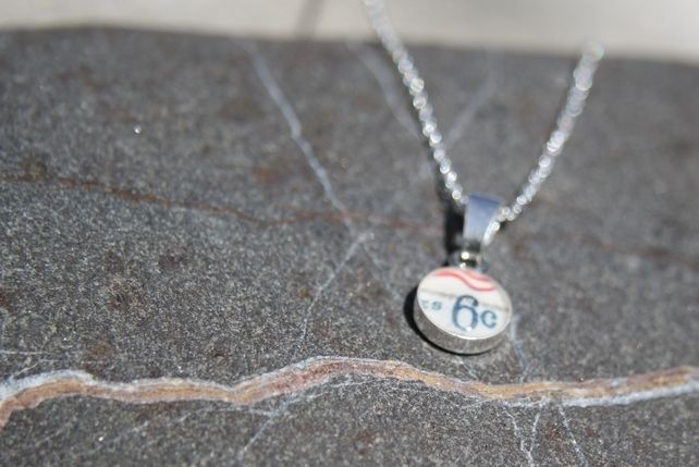 Postage Stamp Sterling Silver Necklace USA £18.00