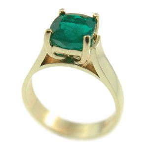 18ct Yellow Gold & Emerald Ring. Handmade at Cameron Jewellery