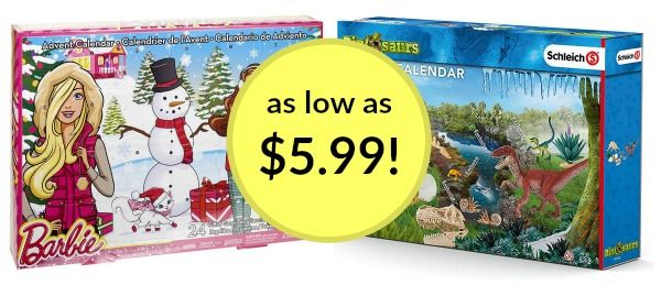 Dinosaur and Barbie Advent Calendars as low as $5.99!