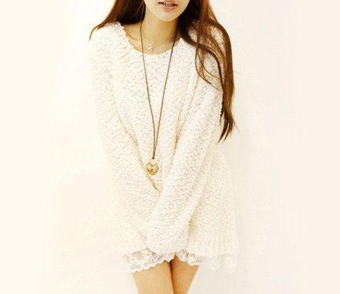 Scoop Neck Lace Splicing Long Sleeves – teeteecee - fashion in style