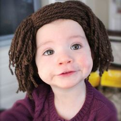 HAHAHAHAHA - sooo needed this for Ashli when she was little!!  Wig for parent that are tired of being ask when their little one will grow some hair!: Hats Patterns, Babies, Yarns Wigs, Baby Hat Crochet, Hats Crochet Patterns, Baldi Baby, Bald Baby, Baby Hats, Hair