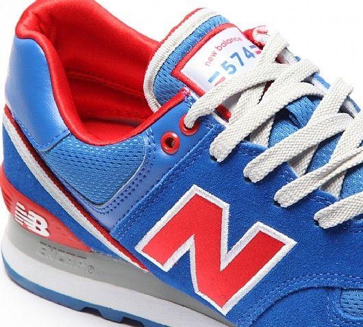 New Balance 574 Damen Schuhe Stadium Jacket Blau Rot Weiß