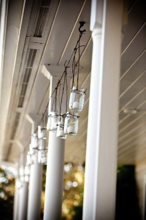 Repurposing Ideas for Outdoor Room Decor • Tips and Ideas! Mason jars with tea lights.