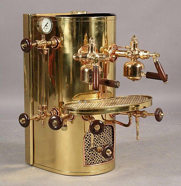 566: vintage Imesa brass copper espresso coffee machine : Lot 566