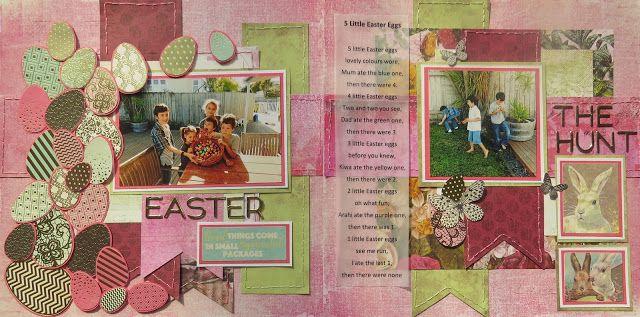 Easter Scrapbook layout.  Sketch challenge. http://letsscrapsketches.blogspot.co.nz/