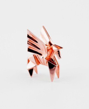 Long Necklace Pegasus - Rose Gold - Women - Origami Jewellery at FRENCH MODE