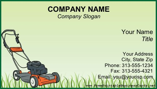 A power lawnmower sits on uncut grass on this green for Lawn care business cards templates free