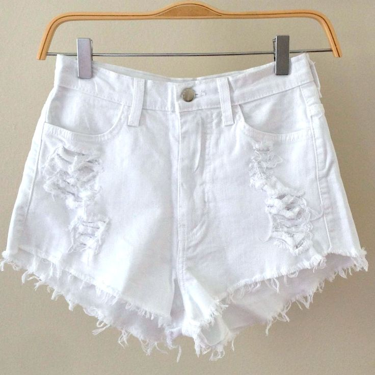 White Distressed High Waisted Shorts - The Else