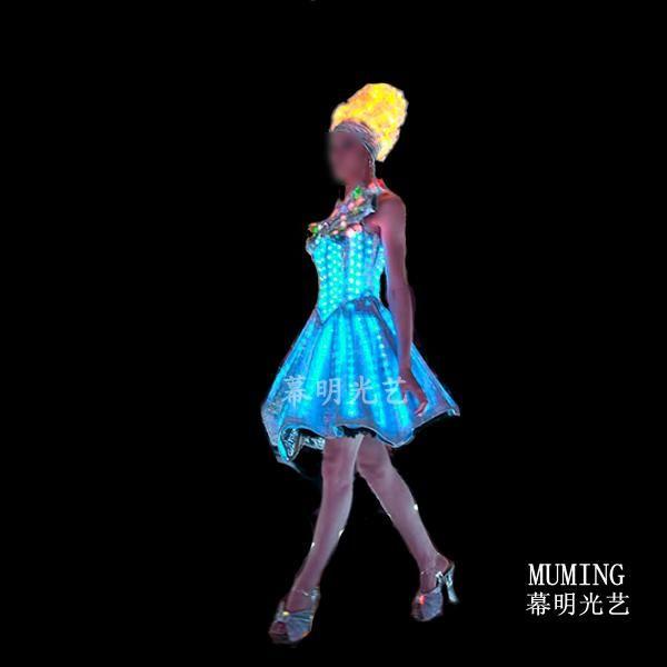 new hotsell Spring and summer women's luminous one-piece dress sexy dress ruslana korshunova led luminous dress.