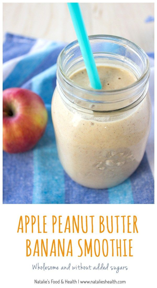 Creamy, full of nutty flavor, sweet but without added sugars, with a hint of apple freshness this Apple Peanut Butter Banana Smoothie is very nutritious and will fill you with needed energy. CLICK to read more or PIN for later.