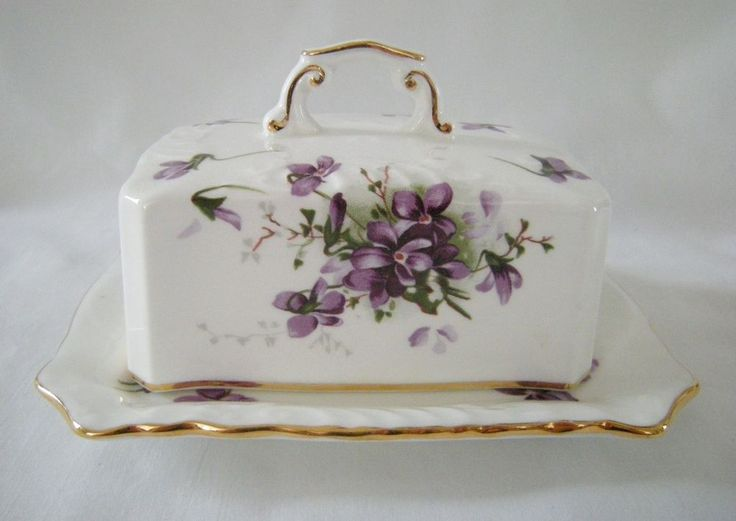 hammersley victorian violets spode group bone china covered butter dish gold rim hammersley