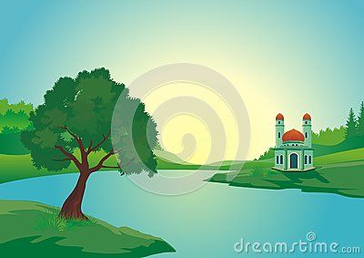 Mosque near the lake with beautiful natural scenery - cartoon design with…