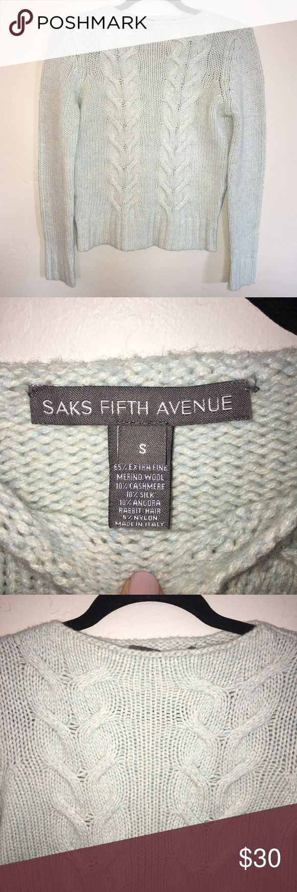 Saks Fifth Avenue Wool Blend Sweater Size Small EUC, light blue cable knit wool, cashmere, and silk blend. Saks Fifth Avenue Sweaters Crew & Scoop Necks