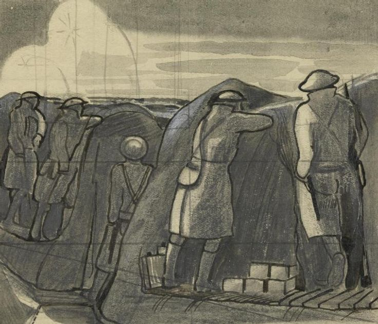 Stand To Before Dawn, c.1918, by John Nash.; The British war artist John Nash served with the Artists Rifles on the Western Front. This drawing depicts men at 'stand to', one of the key events in the daily routine of the front line. Infantry manned the front line in anticipation of a possible enemy attack or raid. Whilst this was a routine associated with the possibility of such activity in the murky light conditions of dawn and dusk, it also became one of discipline and alertness.