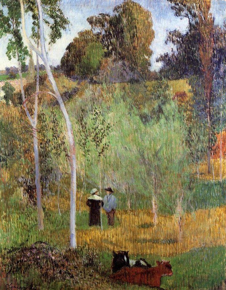 Shepherd and Shepherdess in a Meadow by Paul Gauguin