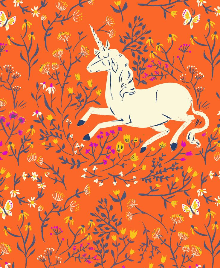sweet orange, adore the little unicorn--wish I knew who the designer is.