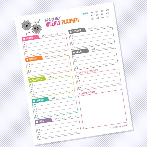 {Free Printable} At-a-Glance Weekly Planner — Hello, Cuteness!