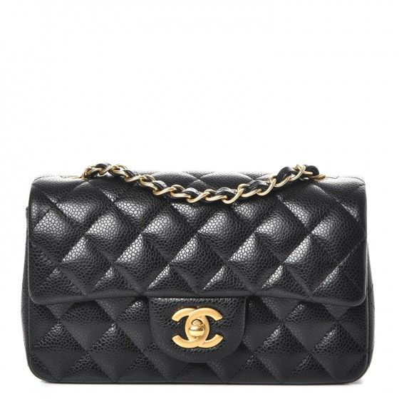 6bcfb9a468043e This is an authentic CHANEL Caviar Quilted Mini Rectangular Flap in Black.  This chic petite shoulder bag is crafted of diamond quilted luxurious  caviar ...