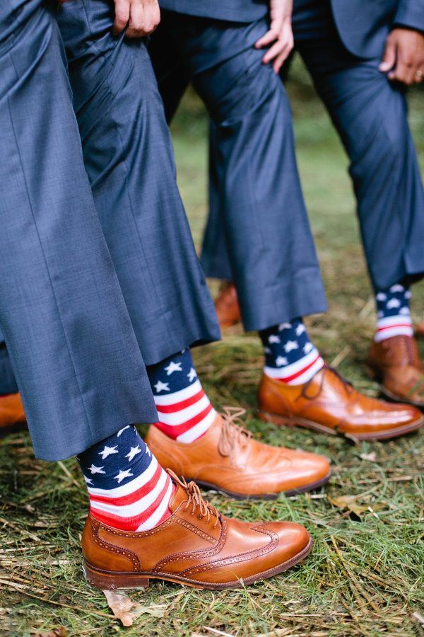 Patriotic groomsmen socks: http://www.stylemepretty.com/tennessee-weddings/2016/01/18/elegant-farmhouse-wedding-in-tennessee/ | Photography: Morgan Trinker - http://morgantrinker.com/