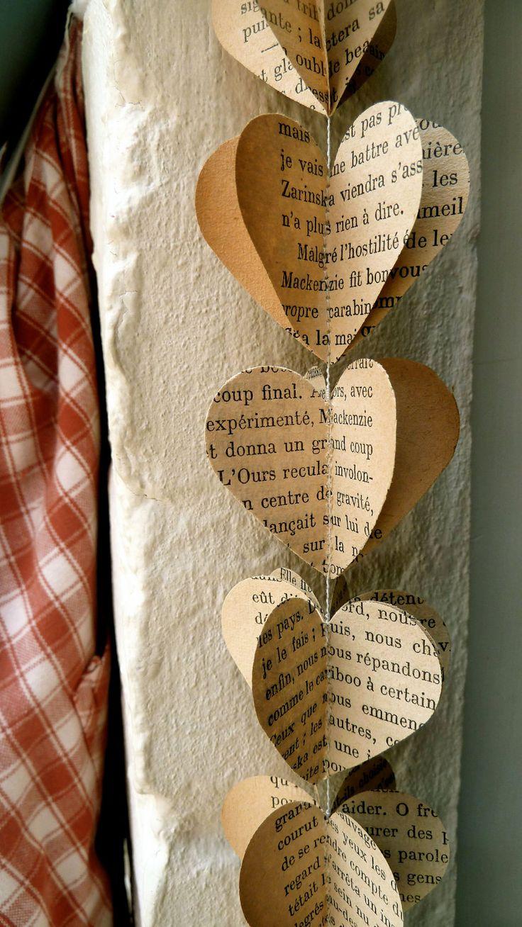 Paper Garland, FRENCH HEARTS, Heart Garland, Wedding garland, Birthday Party Garland, with Merino wool felt ball via Etsy.