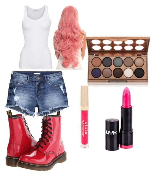 """Music Video Style Steal: Nicki Minaj - Super Bass"" by jasmine-lang-1 ❤ liked on Polyvore featuring Dr. Martens, H&M, American Vintage, NYX and Stila"