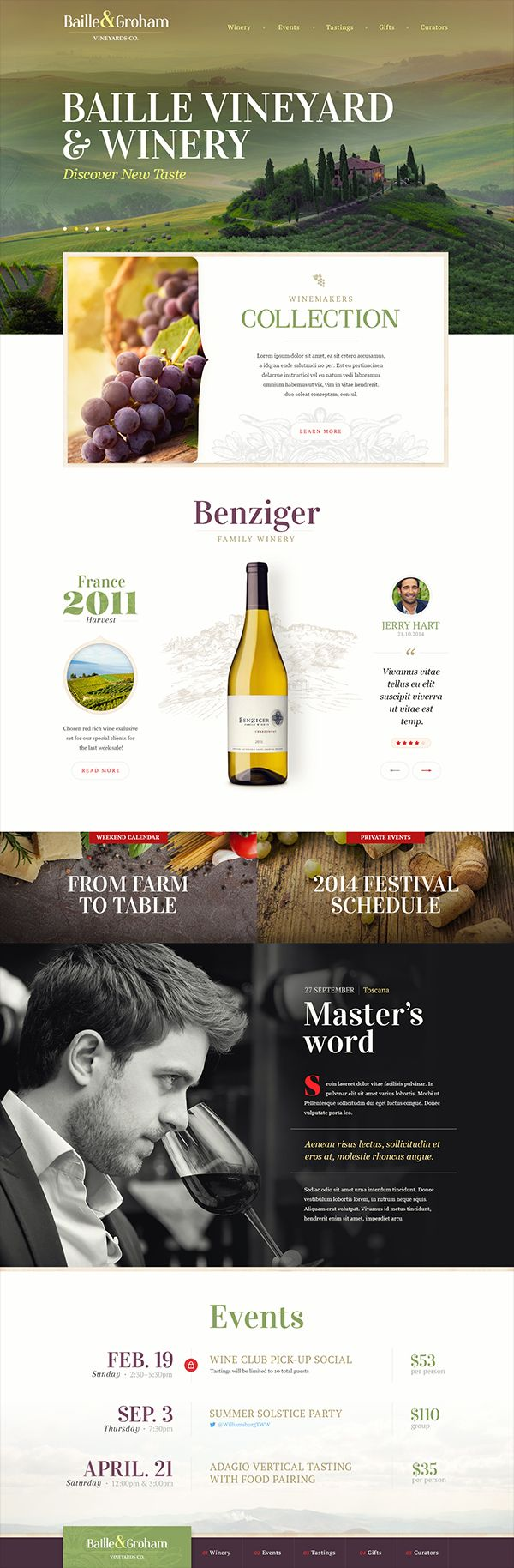 Clear webdesign - Important place for pictures and font / #wine
