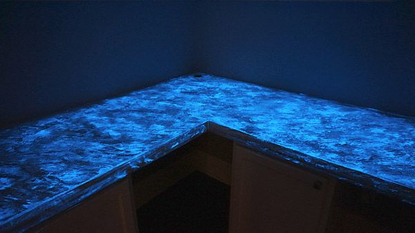 Glow in the Dark Concrete Countertops- seriously? So stinkin' cool!