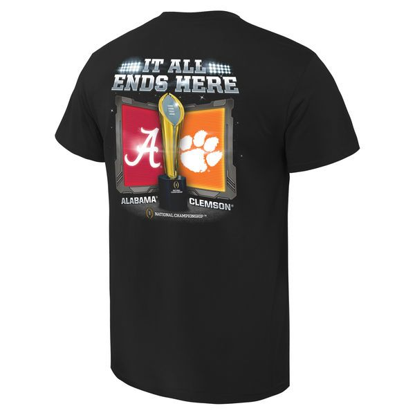 Alabama Crimson Tide vs. Clemson Tigers 2016 College Football Playoffs National Championship Game Dueling Under the Lights T-Shirt - Black - $21.99