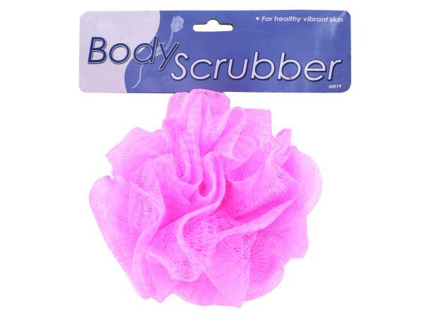 """Exfoliating Body Scrubber, 24 - Great for exfoliating, this nylon mesh scrubber with white braided nylon hanging rope is a shower essential. Comes in colors blue, green, pink and yellow. It is packaged in a poly bag with header card and UPC. Rope length is 7"""", diameter of scrubber is approximately 4 1/2"""".-Colors: yellow,green,blue,pink. Material: plastic,nylon. Weight: 0.2472/unit"""