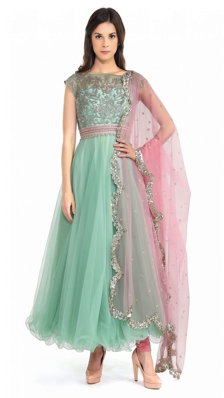 beautiful pastel colours, embroidery on mod #Anarkali ~